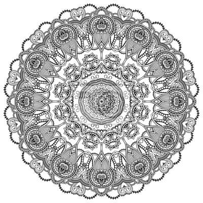 Ozdobne koło koronki na białym tle. Floral runda
