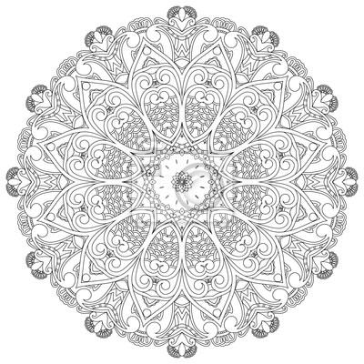 Ozdobne koło na białym tle. Kwiatowy mandala