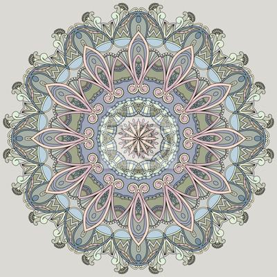 Ozdobne koło na szarym tle. Mandala w pastelowych kolorach