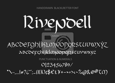 Ozdobne litery w stylu vintage z magią. Skrypt wektorowy