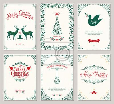 Ozdobne pionowe zimowe kartki z życzeniami z drzewem noworocznym, reniferami, Christmas Dove, projektami typograficznymi, ramkami z motywem kwiatowym i wirowym.