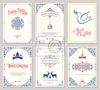 Ozdobne szablony kart okolicznościowych Wesołych Świąt. Ilustracji wektorowych.