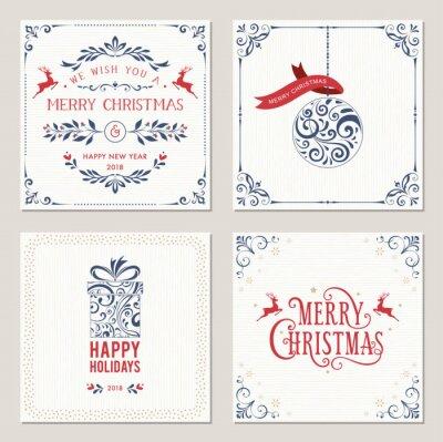Ozdobny kwadratowych ferie zimowe kartki z projektowania typograficznego, kulki, pudełko i jeleni. ilustracji wektorowych.