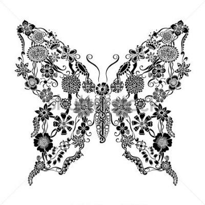 Naklejka Ozdobny motyl ozdobny kwiatowy doodle, monochromatyczne elementy kwiatowy ornament na notatnik, zaproszenie lub pozdrowienie projekt