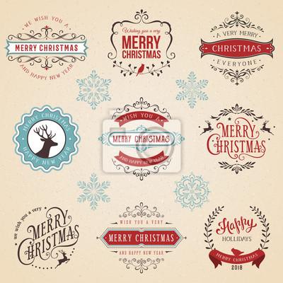 Ozdobny typograficzne etykiet i emblematów zestaw z Wesołych Świąt, Szczęśliwego Nowego Roku i święta życzenia.