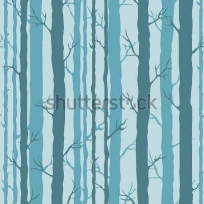 Naklejka Ozdobny wzór z pni drzew. Niekończący się ornament z ciemnymi turkusowymi pniami drzew na niebieskim tle. Stylowe tło drzewa do zawijania, tapety.