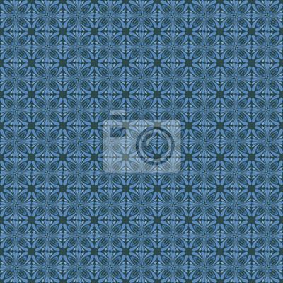 ozdobnych Art Nouveau niebieski motyw kwiatowy wzór