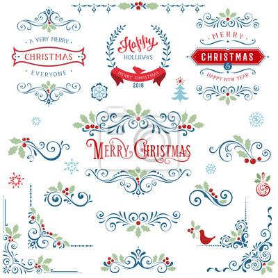 Ozdobnych ramek Boże Narodzenie i elementy wirowa z cytatami Wesołych Świąt i banerów, płatki śniegu, choinki, Holly Berry i ptaków.