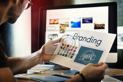 Naklejka Oznakujący pomysłów projekta tożsamości pojęcie marketing