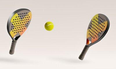 Naklejka Padel racket and ball 3D rendering