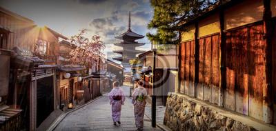 Naklejka Pagoda Yasaka gdzie jest punktem orientacyjnym Kioto w Japonii.