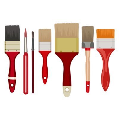 Naklejka Paint brushes isolated on white vector work, good coloring