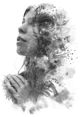 Naklejka Paintography. Double Exposure portrait of a young beautiful woman with hand on chest combined with hand drawn ink and pen drawing