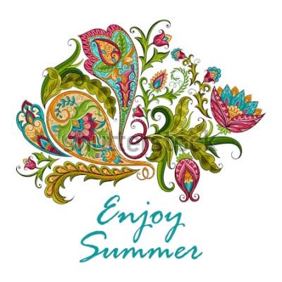 Naklejka Paisley etniczny dekoracyjny ornament dla druku. Ręcznie rysowane ilustracja kwiatowy wzór.