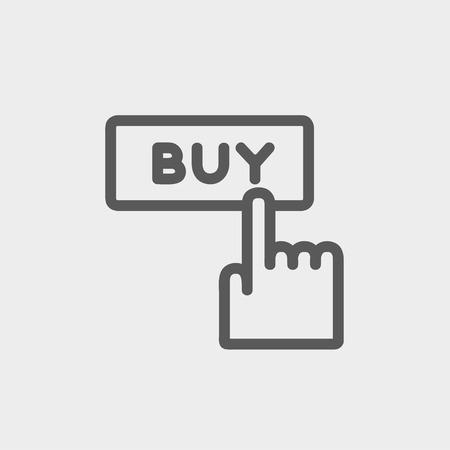 Palec wskazujący kupić ikona znak cienkiej linii internetowych i mobilnych, nowoczesnej minimalistycznej płaskiej konstrukcji. Wektor ciemnoszary ikonę na jasnoszarym tle.