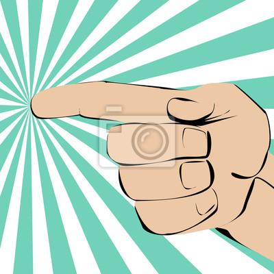 palec wskazujący lewej ręki na promieniować na tle.