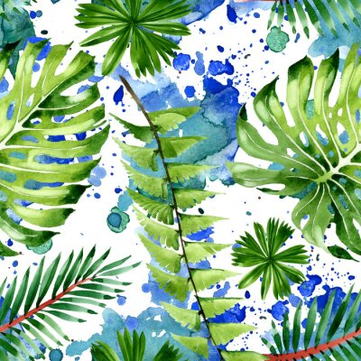 Naklejka Palm beach tree leaves jungle botanical. Watercolor background illustration set. Seamless background pattern.