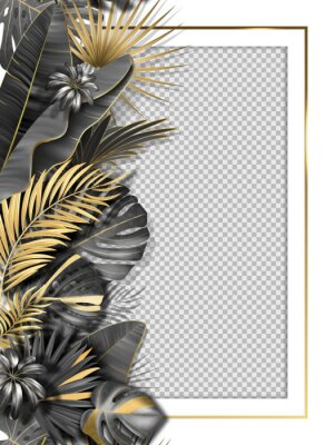 Naklejka Palm leaves and luxurious frame in black gold color. Tropical leaf illustration on transparent background. Vector illustration for cover, photo frame, invitation, souvenir design.