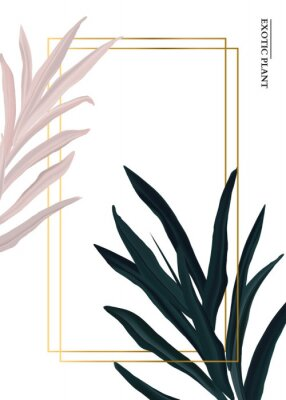 Naklejka Palm pink and green in pastel colors, soft foliage leaves hand drawn doodle graphics background, nature wedding botanical decoration. Tender 3d realistic design with gold luxury elemets