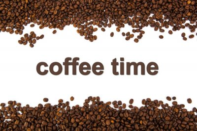 Naklejka palonych ziaren kawy z tytułu