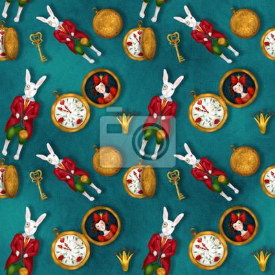 Pan White Rabbit, seamless pattern