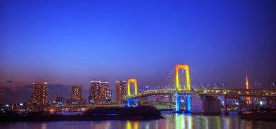 Naklejka Panaroma oświetlonych Tokio