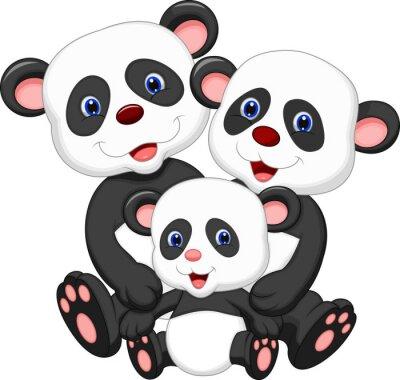 Naklejka Panda Bear rodziny kreskówki