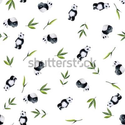 Naklejka Pandy i bambusa wzór na białym tle. Ręcznie malowana akwarela