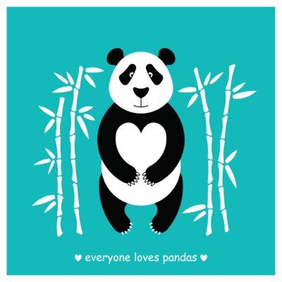 Naklejka Pandy pokrywa płaska. Panda zwierzę samodzielnie.