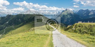 Naklejka Panorama eines Mountainbike Trails in den Alpen
