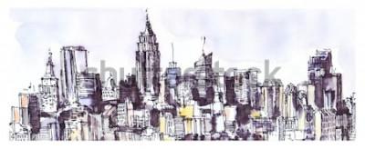 Naklejka Panorama Nowego Jorku. Akwarela, grafika z tuszem. Architektura