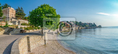 Naklejka Panorama of Nessebar ancient city on the Bulgarian Black Sea Coast. Nesebar or Nesebr is a UNESCO World Heritage Site. Panoramic view of Nessebar city on a sunny day with blue sky, Bulgaria