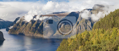 Naklejka Panorama of the Aurlandsfjord from Stegastein