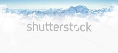 Naklejka Panorama zim góry z kopią przestrzenną