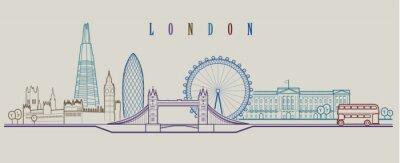 Naklejka Panoramę Londynu. Tło wektor. Zarys ilustracja graficzna.