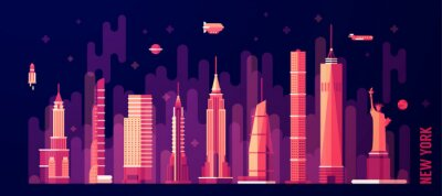 Naklejka Panoramę Nowego Jorku wektor płaskim stylu