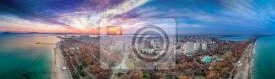 Naklejka Panoramic view of Burgas city, shot with a drone,Burgas,Bulgaria - Image