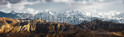 Naklejka Panoramic view of the snowy mountains in Upper Mustang, Annapurna Nature Reserve, trekking route, Nepal