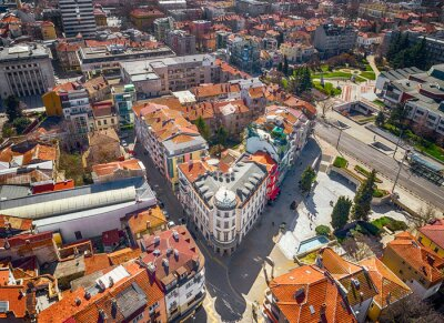 Naklejka Panoramic view over the center of Bourgas, Bulgaria, shot with drones