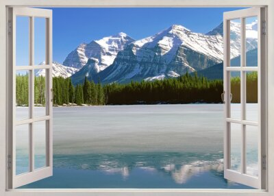 Naklejka Panoramic view to Canadian Rockies Mountains from open window