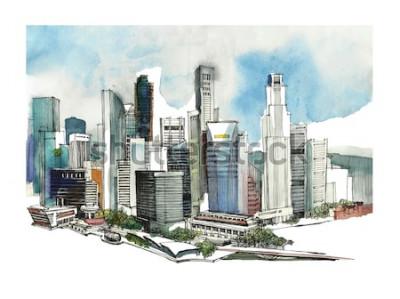 Naklejka Panoramiczny szkic akwarela miasta Singapur. Skyline sylwetka miasta. Rysowanie ręczne z architekturą. Kolorowa ilustracja miasta biznesowego na pocztówki, koszulki,
