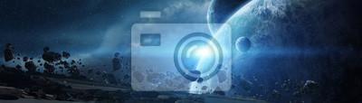 Naklejka Panoramiczny widok planet w odległym układzie słonecznym 3D renderingu elementy ten wizerunek meblujący NASA