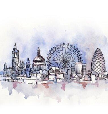 Naklejka panoramiczny widok z London akwarelą europejskiego kraju związkowego samodzielnie na białym tle