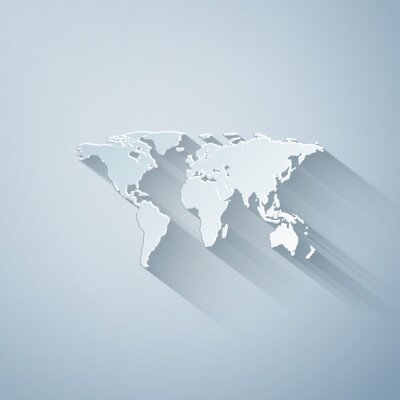 Naklejka Paper cut World map icon isolated on grey background. Paper art style. Vector Illustration