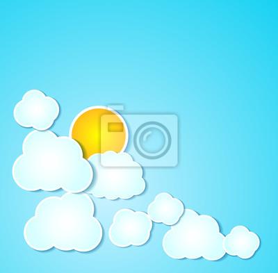 Papier z chmury słońce przedstawiono tło w kolorze niebieskim.