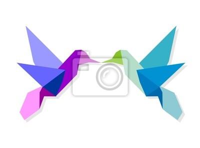 Para kolorowe origami koliber