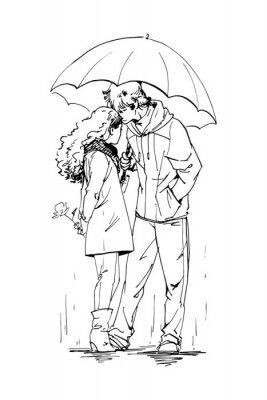 Para na randce w deszczowy dzień, stojąc pod parasolem. Tusz graficzny szkic ludzi, wyciągnąć rękę, ilustracji wektorowych.