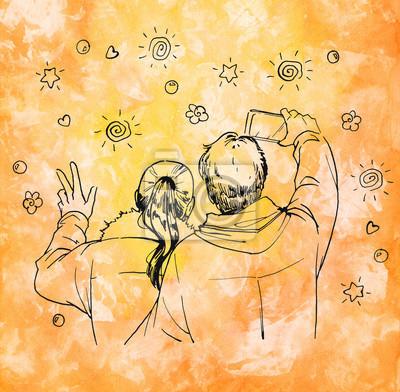 Para podejmowania autoportretów. Tusz ilustracja streszczenie pomarańczowym tle Akwarele.