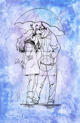 Para z parasolem. Tusz ilustracja na tle Akwarele.