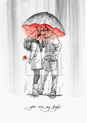 Para z parasolem w deszczu. Tusz ilustracja z czerwoną akwarelą.